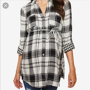 Motherhood Maternity Black & White Flannel - XL